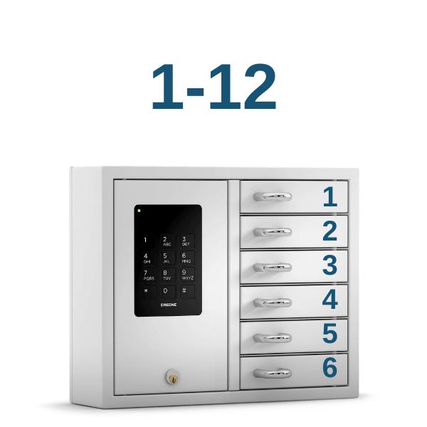 Fachnummerierung Ziffern 1-12 zum Aufkleben für CREONE KeyBox B/S